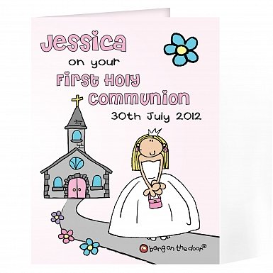 Personalised Bang On The Door First Holy Communion Girls Card