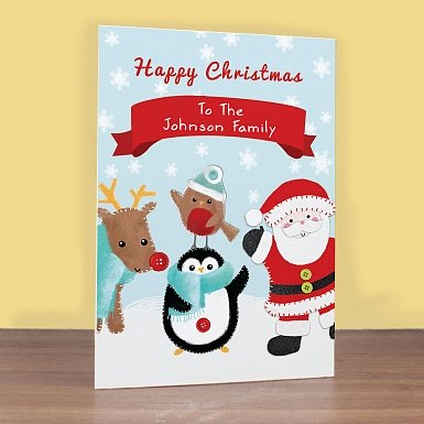 Personalised Felt Stitch Friends Christmas Card