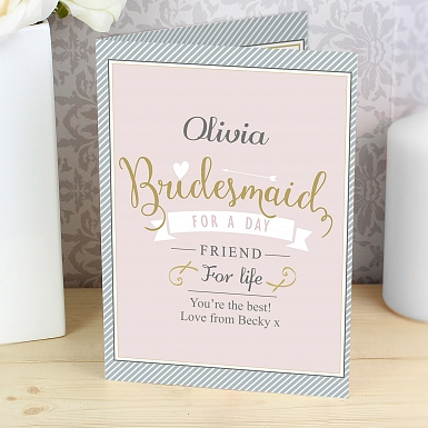 Personalised I Am Glad... Bridesmaid Card