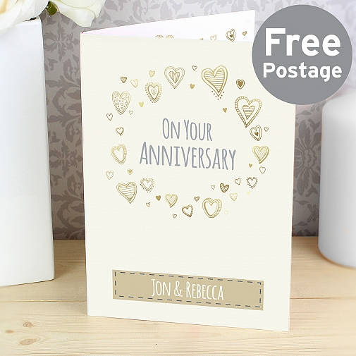 Personalised Gold Hearts Card