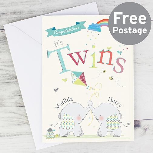 Personalised Hessian Elephant Twins Card