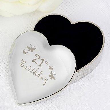 21st Butterflies Heart Trinket Box