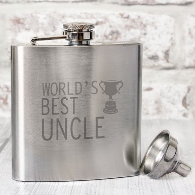 Worlds Best Uncle Hip Flask