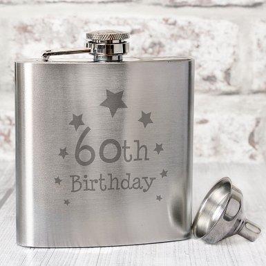 60th Birthday Hip Flask