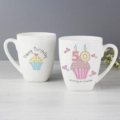Cupcake 50th Birthday Latte Mug