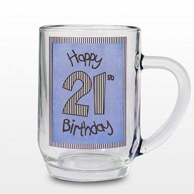 Blue 21st Happy Birthday Tankard