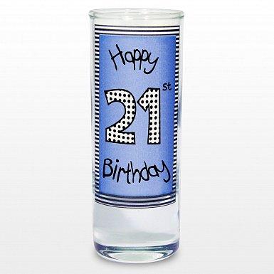 Blue 21st Happy Birthday Shot Glass