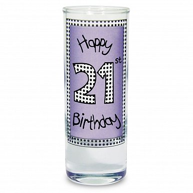 Lilac 21st Happy Birthday Shot Glass
