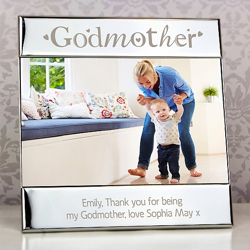 Personalised Silver Godmother Square 6x4 Photo Frame