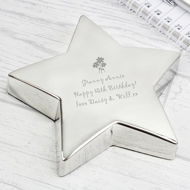 Personalised Flowers Star Paperweight