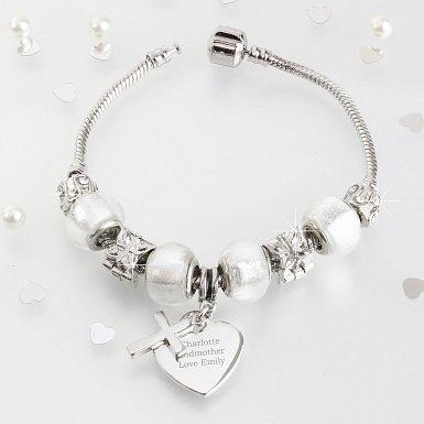 Personalised Cross Charm Bracelet - Ice White - 18cm