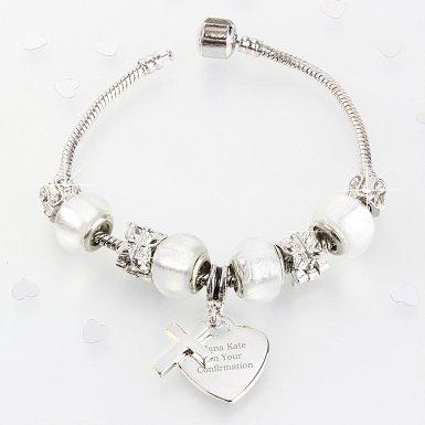 Personalised Cross Charm Bracelet - Ice White - 21cm