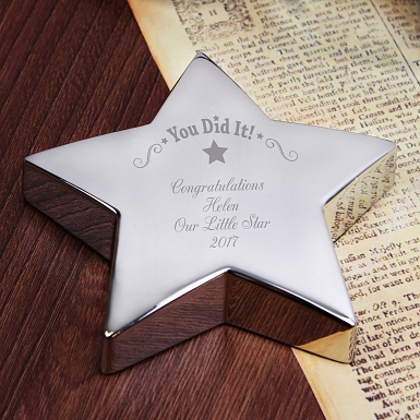Personalised You Did It! Star Paperweight