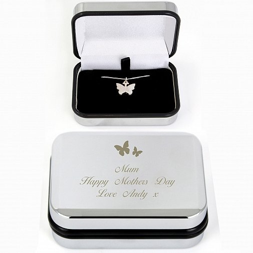Personalised Butterfly Swirl Necklace in Box