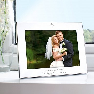 Personalised Silver 5x7 Landscape Cross Photo Frame