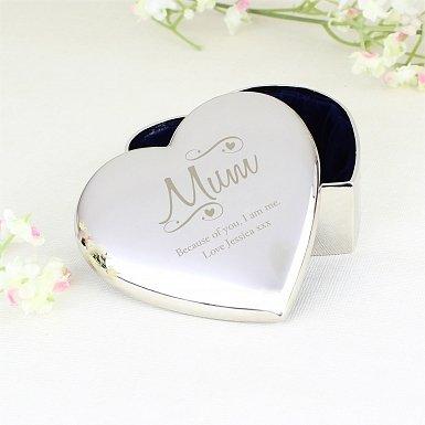 Personalised Mum Swirls & Hearts Trinket Box