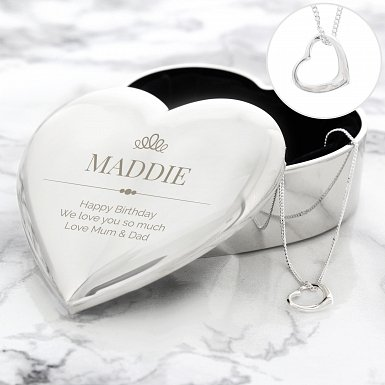 Personalised Elegant Crown Heart Trinket Box & Necklace Set delivery to UK [United Kingdom]