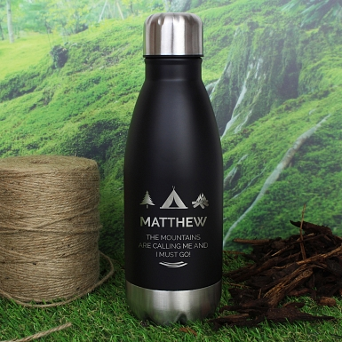 Personalised Wilderness Wanderer Black Travel Bottle