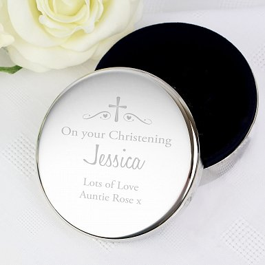 Personalised Religious Swirls & Hearts Round Trinket Box