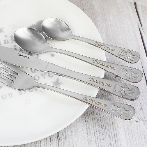Personalised Teddy 4 Piece Embossed Cutlery Set