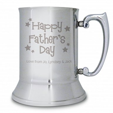 Personalised Happy Father's Day Stars Stainless Steel Tankard