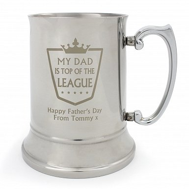 Personalised Top of the League Stainless Steel Tankard