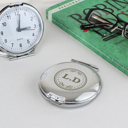 Personalised Monogram Round Travel Clock