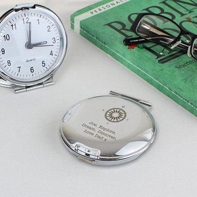 Personalised Compass Round Travel Clock