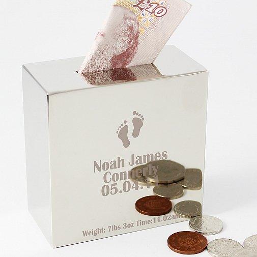 Personalised Footprint Square Money Box