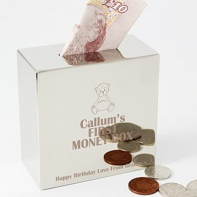 Personalised Teddy Square Money Box