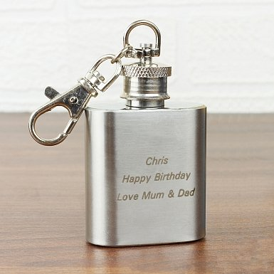Stainless Steel 1oz Hip Flask Keyring