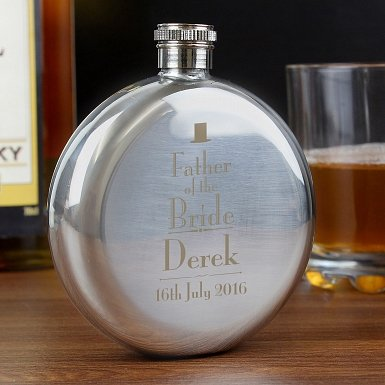 Personalised Decorative Wedding Father of the Bride Round Hip Flask