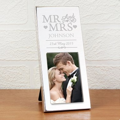 Personalised Small Silver Mr & Mrs 2x3 Photo Frame