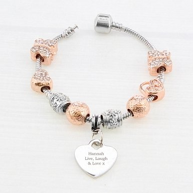 Personalised Rose Gold Charm Bracelet - Any Message - 18cm delivery to UK [United Kingdom]