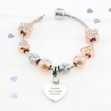 Personalised Rose Gold Charm Bracelet - Any Message - 21cm delivery to UK [United Kingdom]