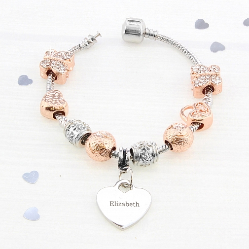 Personalised Rose Gold Charm Bracelet - 21cm
