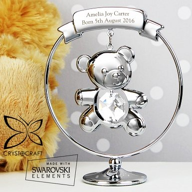 Personalised Crystocraft Teddy Bear Ornament