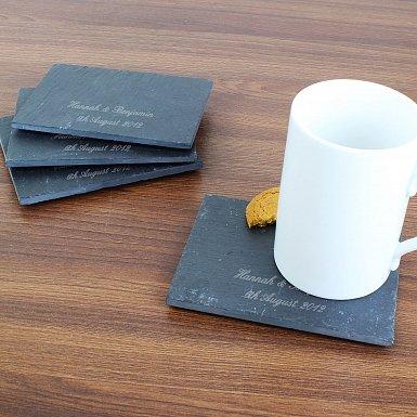 Personalised Script Engraved 4 Pack of Slate Coasters