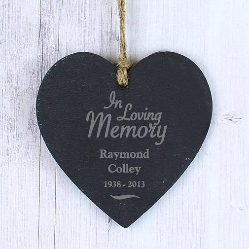 Personalised In Loving Memory Slate Heart