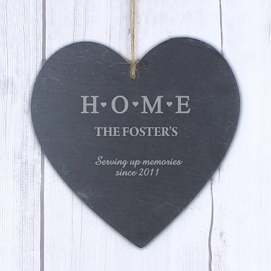 Personalised HOME Large Slate Heart Decoration