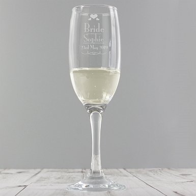 Personalised Decorative Wedding Bride Glass Flute