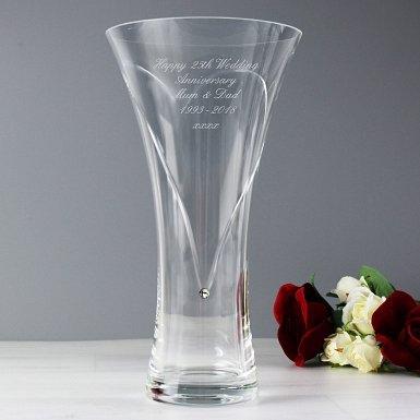 Personalised Large Hand Cut Diamante Heart Vase