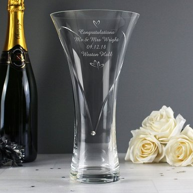 Personalised Large Hand Cut Little Hearts Diamante Vase with Swarovski Elements