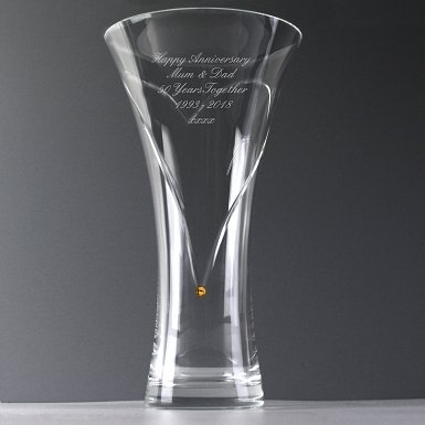 Personalised Large Infinity Vase with Gold Swarovski Elements
