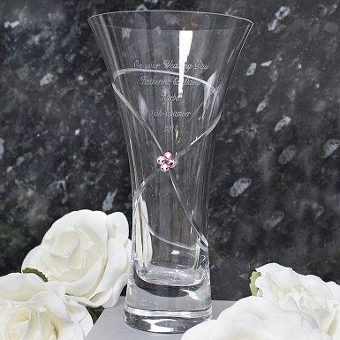 Personalised Large Infinity Vase with Ruby Swarovski Elements