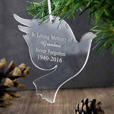 Personalised Acrylic Dove Decoration