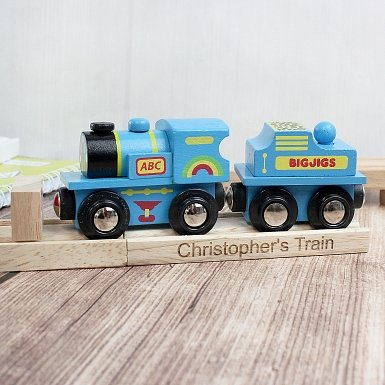 Personalised Blue ABC Train and Track