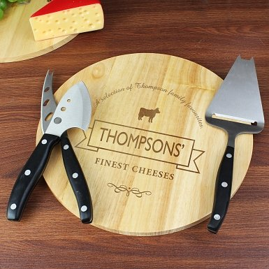 Personalised Cheese Label Cheeseboard with Cheese Knives