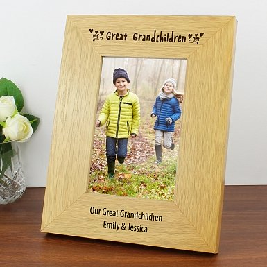 Personalised Oak Finish 6x4 Great Grandchildren Photo Frame