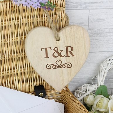 Personalised Monogram Chunky Wooden Heart Decoration